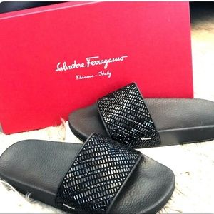 Salvatore Ferragamo Black Groove Slides